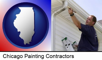 a painting contractor brushing paint on an aluminum leader in Chicago, IL