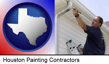 a painting contractor brushing paint on an aluminum leader in Houston, TX