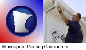 Minneapolis, Minnesota - a painting contractor brushing paint on an aluminum leader