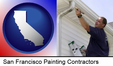 a painting contractor brushing paint on an aluminum leader in San Francisco, CA
