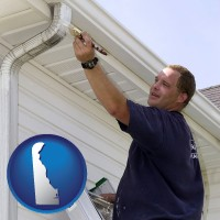 delaware map icon and a painting contractor brushing paint on an aluminum leader