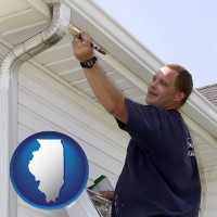 illinois map icon and a painting contractor brushing paint on an aluminum leader