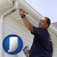 indiana map icon and a painting contractor brushing paint on an aluminum leader