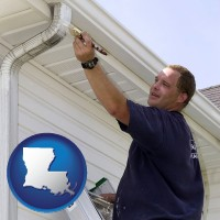 louisiana map icon and a painting contractor brushing paint on an aluminum leader
