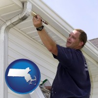 massachusetts map icon and a painting contractor brushing paint on an aluminum leader