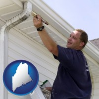 maine map icon and a painting contractor brushing paint on an aluminum leader