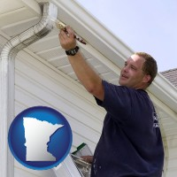 minnesota map icon and a painting contractor brushing paint on an aluminum leader