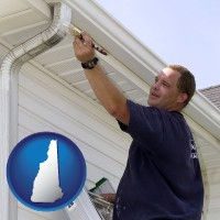 new-hampshire map icon and a painting contractor brushing paint on an aluminum leader