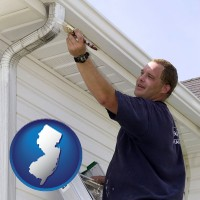 new-jersey map icon and a painting contractor brushing paint on an aluminum leader