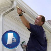 rhode-island map icon and a painting contractor brushing paint on an aluminum leader