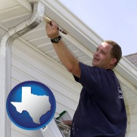 texas map icon and a painting contractor brushing paint on an aluminum leader