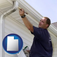 utah map icon and a painting contractor brushing paint on an aluminum leader