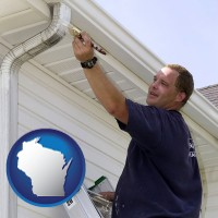 wisconsin map icon and a painting contractor brushing paint on an aluminum leader
