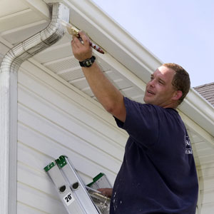 a painting contractor brushing paint on an aluminum leader
