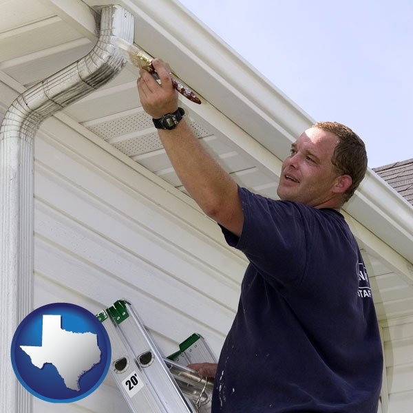 A Painting Contractor Brushing Paint On An Aluminum Leader With Texas Icon