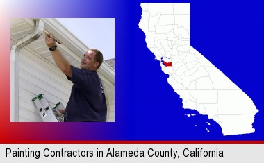 a painting contractor brushing paint on an aluminum leader; Alameda County highlighted in red on a map