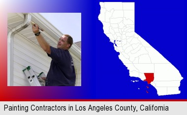 a painting contractor brushing paint on an aluminum leader; Los Angeles County highlighted in red on a map