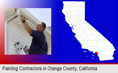 a painting contractor brushing paint on an aluminum leader; Orange County highlighted in red on a map