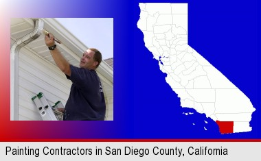 a painting contractor brushing paint on an aluminum leader; San Diego County highlighted in red on a map